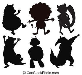 selvatico, silhouette, animali, differente
