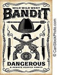 selvatico, vendemmia, ovest, bandito, manifesto