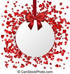selymes, valentine's, keret, banner., nap, ábra, íj, háttér., vektor, piros, függő, piros, fehér, transzparens, kerek, szalag