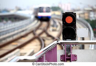 semáforo, céu-trem