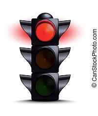semáforo, ligado, vermelho