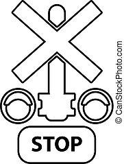 semáforo, parada, estrada ferro, ícone, esboço, estilo