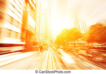 semáforo, senderos, de, negocio moderno, ciudad