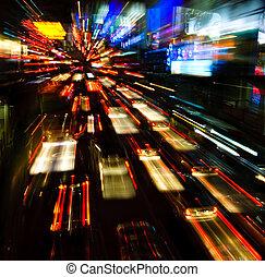 semáforos, movimento, borrão
