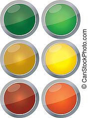 semáforos, vector, aislado, blanco, plano de fondo