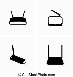 sem fios, equipamento, dispositivos