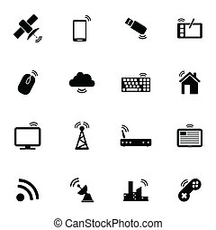sem fios, jogo, pretas, vetorial, ícones