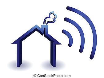 sem fios, lar, conexão