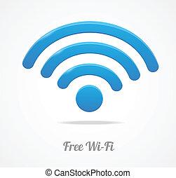 sem fios, rede, símbolo., wifi, ícone