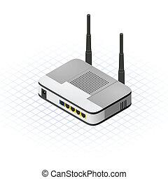sem fios, router, isometric