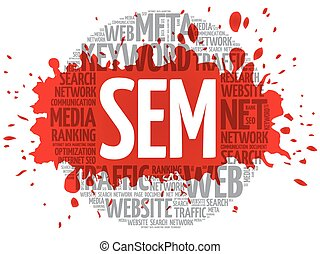 SEM - Search Engine Marketing word cloud, business concept