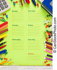 semaine, école, horaire