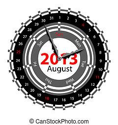 semaine, 2013, horloge, flèches, idée, créatif, indiquer,...