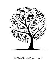 semaine, art, 7petal, arbre, jours, conception