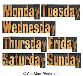 semaine, bois, type, jours