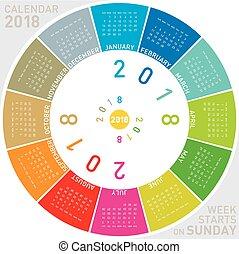 semaine, coloré, débuts, dimanche, 2018., calendrier, design., circulaire