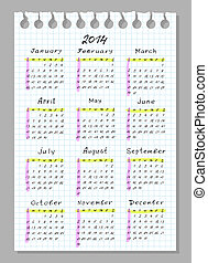 semaine, commence, 2014., sunday., font., calendrier, travail manuel