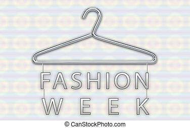 semaine, concept, mode, cintre, bannière, vêtements