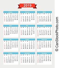 semaine, début, calendrier, 2019, dimanche