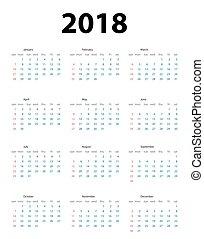 semaine, débuts, illustration, vecteur, sunday., 2018., calendrier