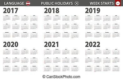 semaine, débuts, langue, sunday., letton, année, calendrier, 2017-2022