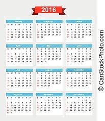 semaine, dimanche, début, 001, calendrier, 2016