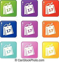 semaine, ensemble, icônes, couleur, collection, 9,...