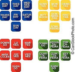 semaine, ensemble, icônes, couleur, jours, vecteur, titres, carrée