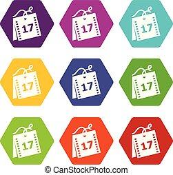 semaine, ensemble, icônes, vecteur, 9, calendrier