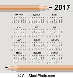 semaine, ensemble, planificateur, débuts, months., vecteur, conception, sunday., calendrier, 2017, 12, template.