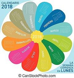 semaine, fleur, coloré, débuts, langue, espagnol, 2018, design., calendrier, monday.