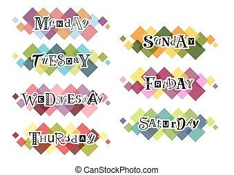 semaine, lettrage, coloré, jours, arrière-plan noir, carrés
