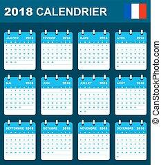 semaine, lundi, débuts, francais, ou, agenda, ordre du jour, 2018., calendrier, programmateur, template.