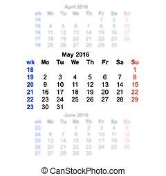semaine, lundi, mai, débuts, calendrier, 2016
