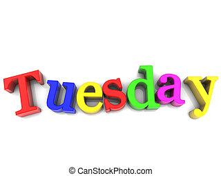 semaine, mardi, sur, multicolore, fond, blanc, jour