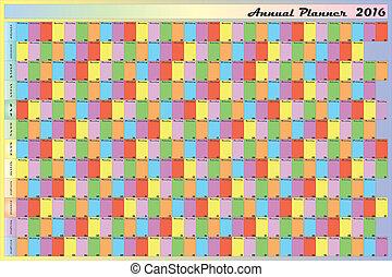 semaine, planificateur, couleur lettres, annuel, jour, spécifique, noir, calendrier, chaque, blanc, 2016, contour