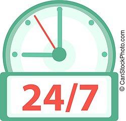 semaine, plat, 24h, art, agrafe, illustration, horloge, jours, montres, isolé, arrière-plan., vecteur, 7, icône, blanc, design.