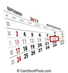 semaine, septembre, débuts, mis valeur, calendar., sunday., 2017, 15