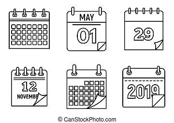 semaine, style, contour, icônes, ensemble, calendrier
