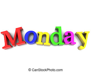semaine, sur, lundi, multicolore, fond, blanc, jour