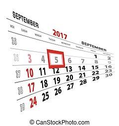 semana, 5, setembro, começa, destacado, calendar., sunday., 2017