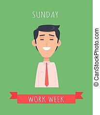 semana, apartamento, conceito, trabalho, emotivo, vetorial, desenho