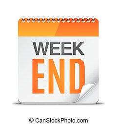semana, calendário, fim