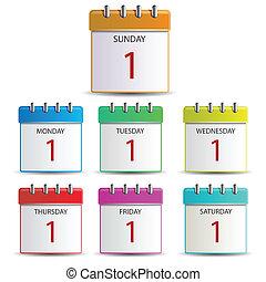 semana, calendario, días