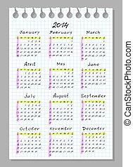 semana, começa, 2014., sunday., font., calendário, handwork