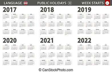 semana, começa, língua, sunday., latvian, ano, calendário, 2017-2022