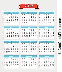 semana, comienzo, 2017, calendario, domingo