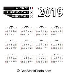 semana, comienzos, idioma francés, 2019, sunday., calendario