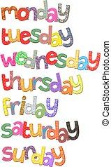 semana, días, texto, imágenesprediseñadas