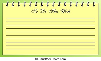 semana, esto, cosas, lista, verde amarillo